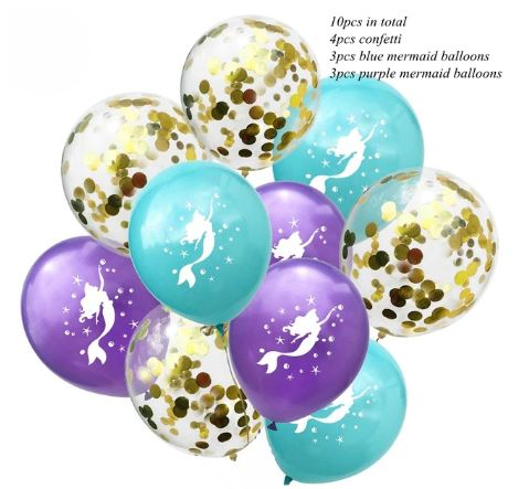 Mermaid Confetti Latex Balloons (Pack of 10)
