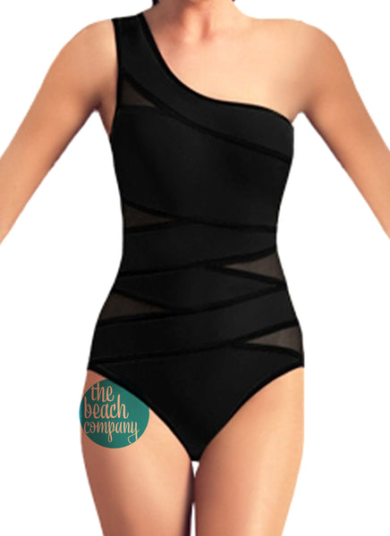 Mesh Cut Swimsuit Black
