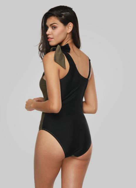 Colorblock One Shoulder Swimsuit (L & XL Only)