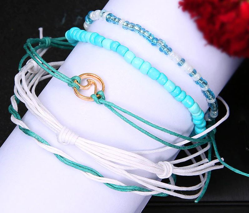 Ocean Wave Multi Anklet Set (4pcs)
