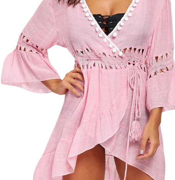 Blush Crochet Wrap Tie Cover up