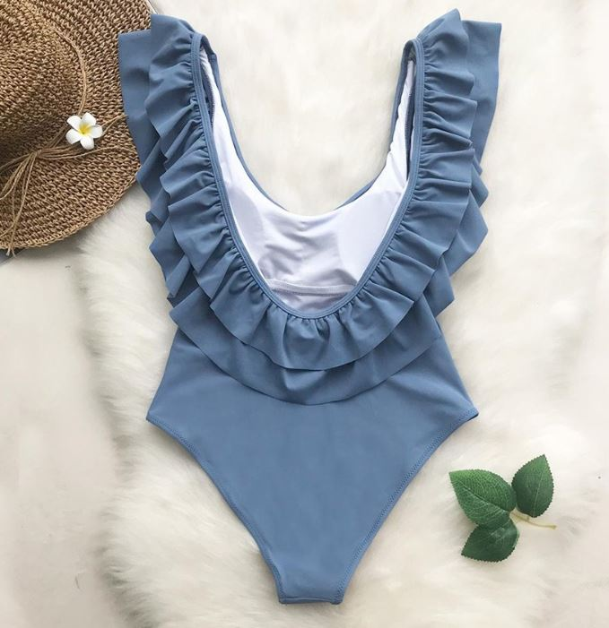 Ash Grey Ruffle Detail Swimsuit