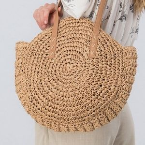 """Hola Beaches"" Metallic Slogan Rope Handle Bag"
