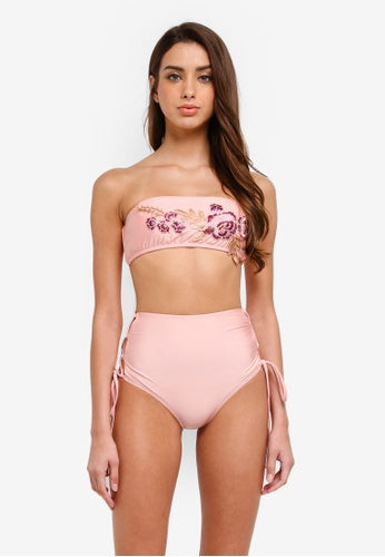 Floral Applique Bandeau High Waisted Bikini Set