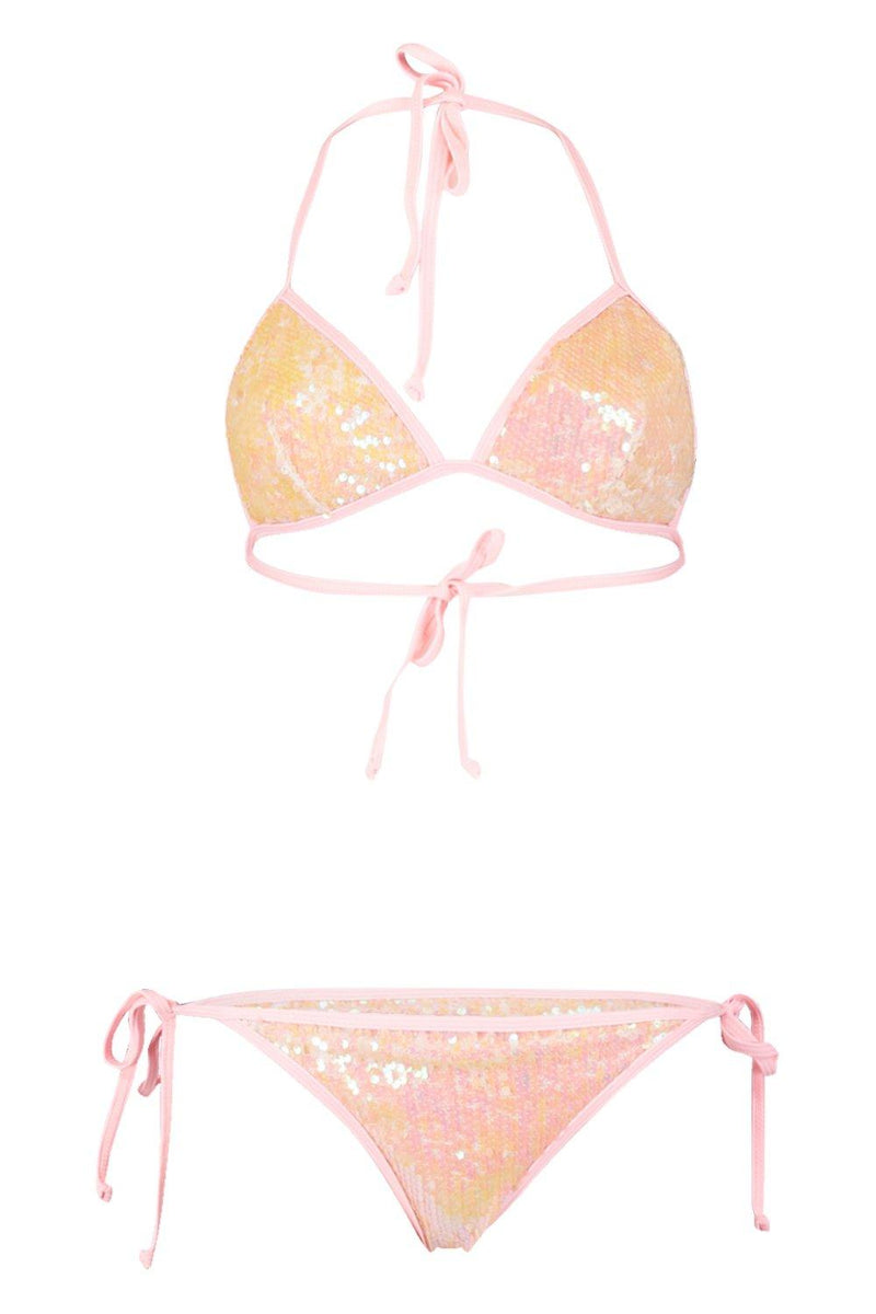 Sequined Triangle Bikini Set