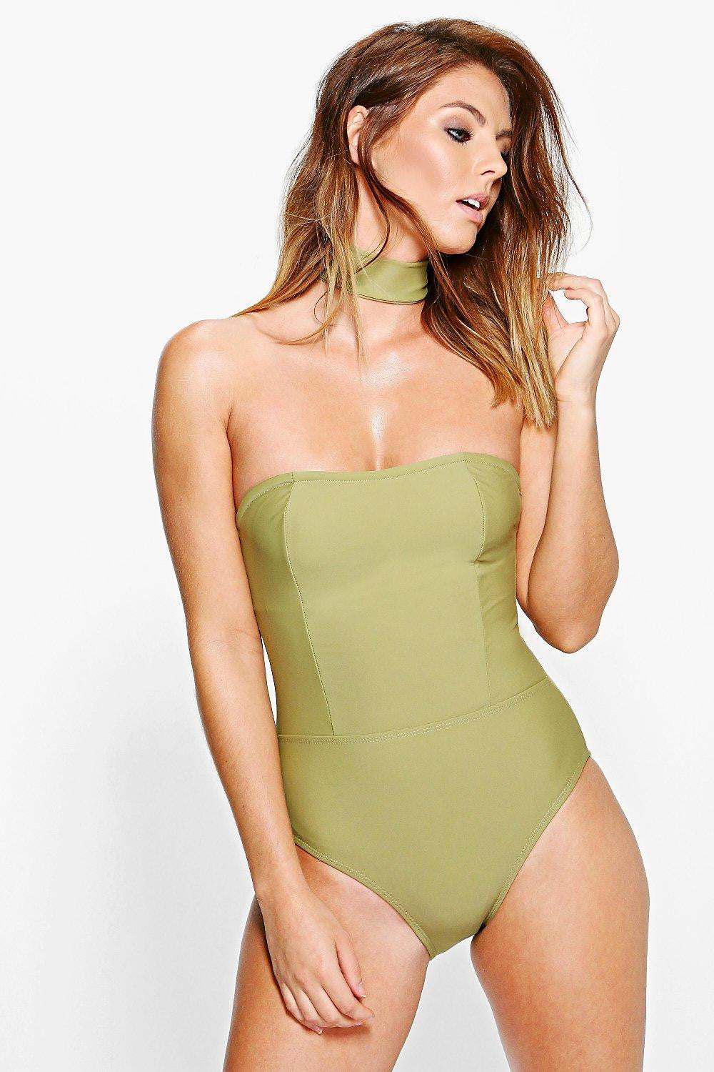 Bandeau Choker Swimsuit (XL ONLY)