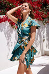 Tropical Ruffle Wrap dress (M Only)