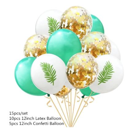 Tropical Palm Confetti Latex Balloons (Pack of 15)