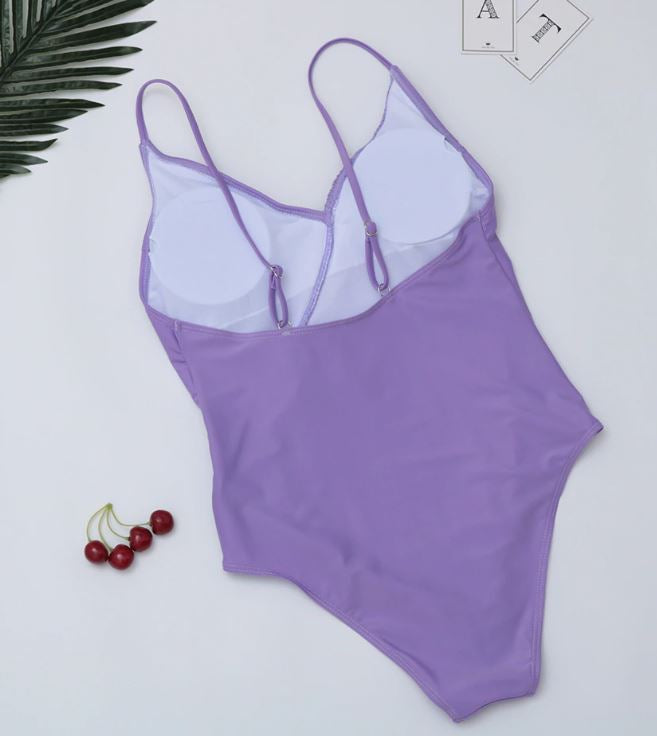 Lilac Ruffle Detail Swimsuit
