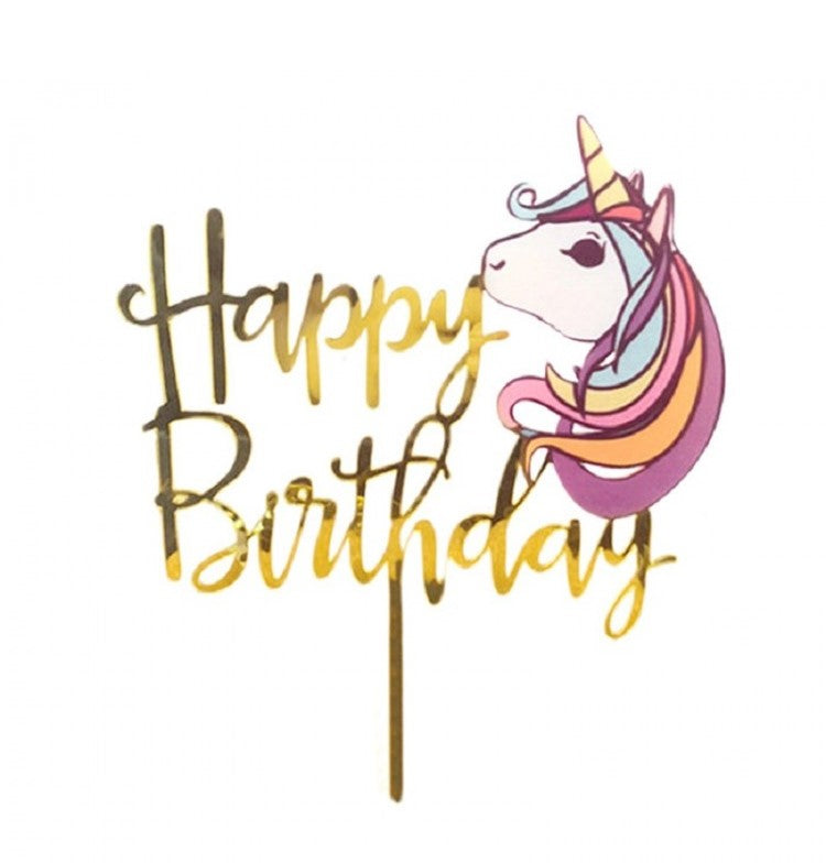 Unicorn Happy Birthday Acrylic Cake Décor/Topper