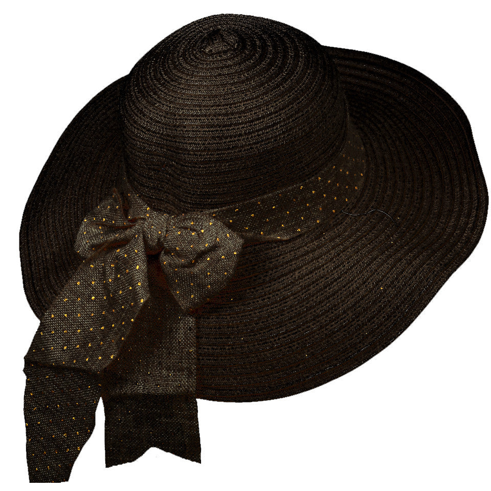 7bf274960 Vintage Bow Beach Hat-Black
