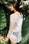 Ivory Crochet Knitted Beach Cover Up