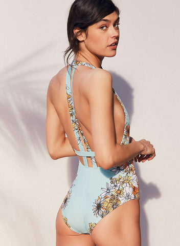 Cross Back Plunge Swimsuit