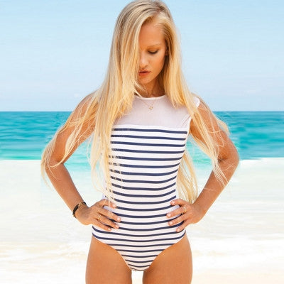 Backless Nautical Stripe Mesh Swimsuit (Non-Padded)