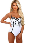 White Contrast Trim Balconette Swimsuit