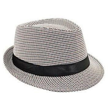 Houndstooth Fedora Hat - White/Multi