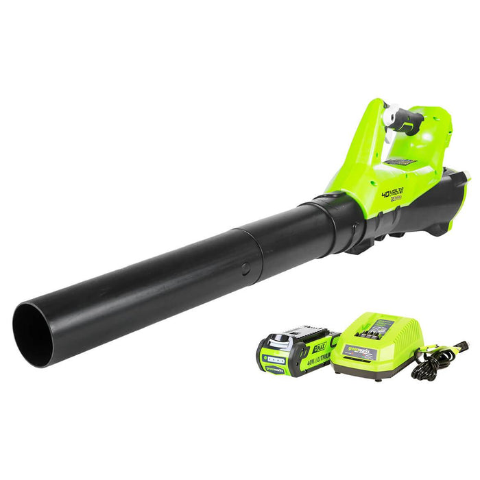 GreenWorks 2400802 40-Volt 390-Cfm 2.5Ah Durable Cordless Axial Leaf Blower Kit