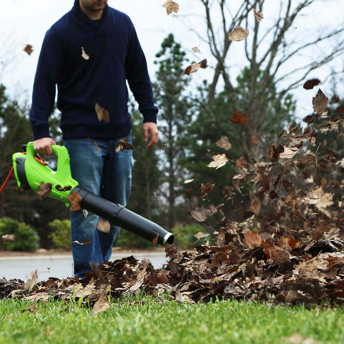 GreenWorks BA09B00 9-Amp 530-Cfm Heavy Duty Corded Axial Leaf Blower - 2400902