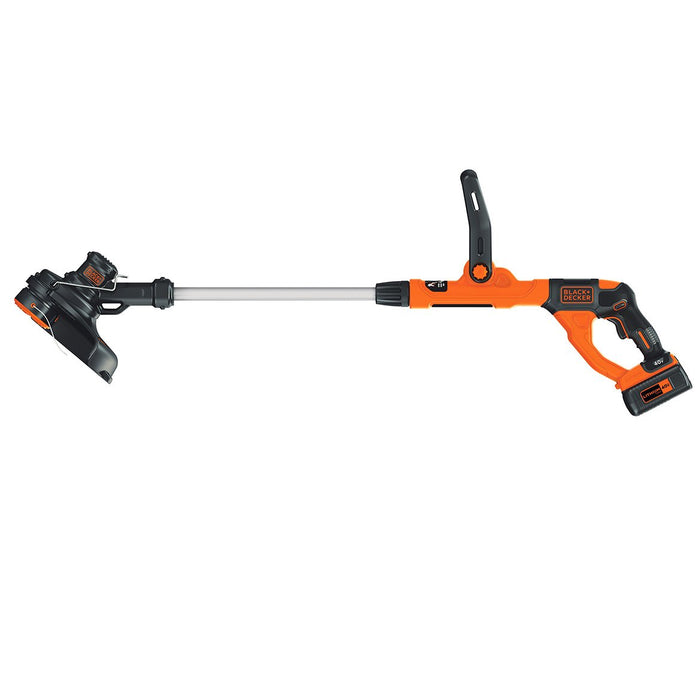 horizontal side view of the Black and Decker LST140C String Trimmer