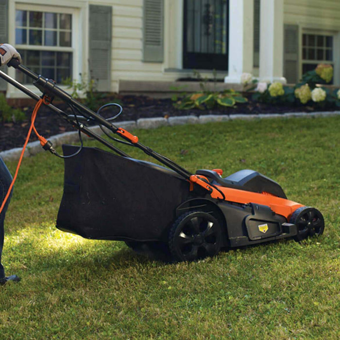 side view of Black and Decker MM2000 Electric Lawn Mower in the yard
