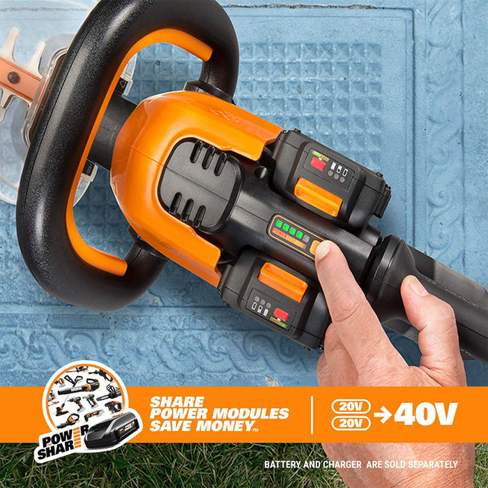 "WORX WG284.9 20V X2 40V 24"" Lithium-Ion Cordless Hedge Trimmer - Bare Tool"