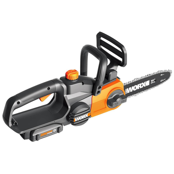 WORX WG322 20-Volt 10-Inch PowerShare Cordless Auto-Tension Oil Tank Chainsaw