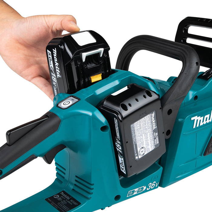 Makita XCU07PT 36 Volt X2 14 Inch 5.0Ah Cordless Chainsaw Kit w/ 2 Batteries