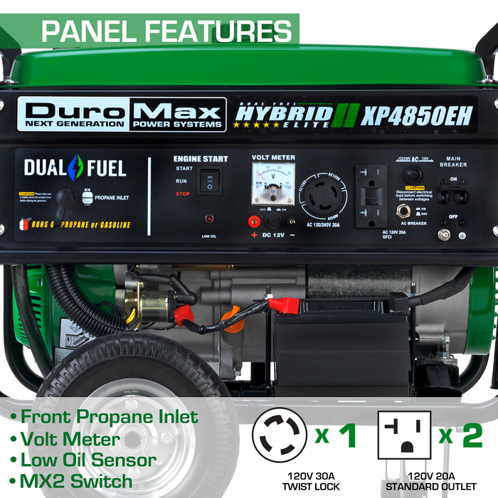 DuroMax XP4850EH 4,850-Watt Dual Fuel Hybrid Generator w/ Electric Start