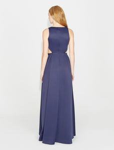 Halston Heritage Satin Faille Gown with Cut Outs in NAVY
