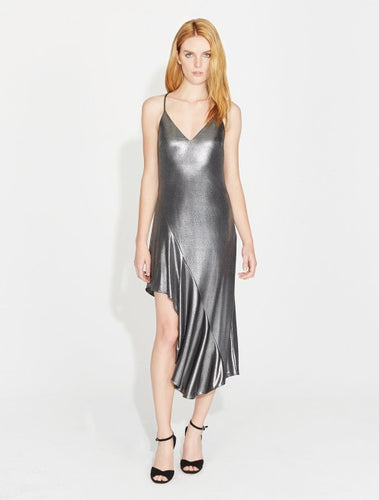 Halston Heritage ASYMMETRIC METALLIC JERSEY DRESS in Steel
