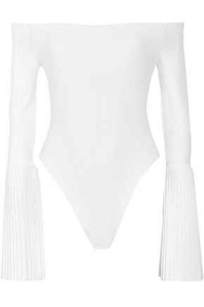 ALIX Off-the-shoulder pleated stretch-jersey bodysuit