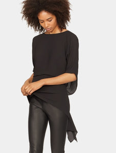 Halston Heritage OPEN DRAPE BACK TOP