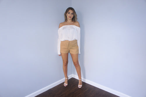 Maggy Frances camel wool shorts