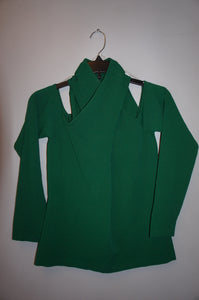 Milly Wrap Keyhole Neck Top in Emerald