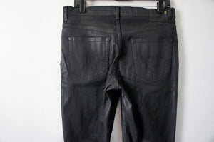 R13 x-over waxed black pants