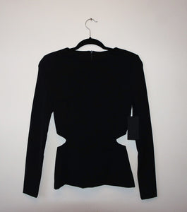 La Pina black cutout long sleeve top