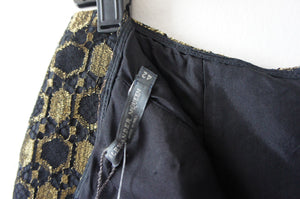 Alexander McQueen Women's Metallic Black and Gold Honeycomb Jacquard Slit Front Trousers size 42