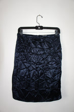 Nina Ricci crease effect high slit blue skirt