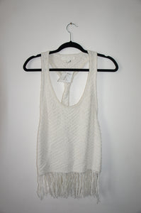 Jonathan Simkhai White Shredded Twist Tank Top