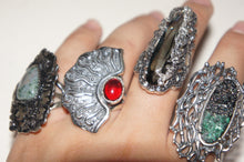 Red crystal | Silver ring from Armenia