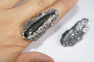 Grey crystal | Silver ring from Armenia
