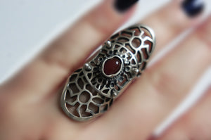Semi-precious red stone | Silver ring from Armenia