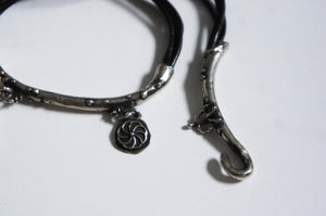 Silver | black bracelet with charms from Armenia