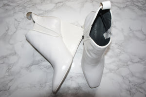 Jeffrey Campbell white patent leather booties