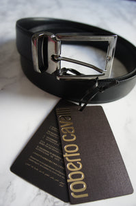 Roberto Cavalli Skinny Leather Black Belt