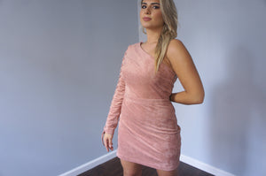 Endless Rose Faux-Suede One-Sleeve Dress