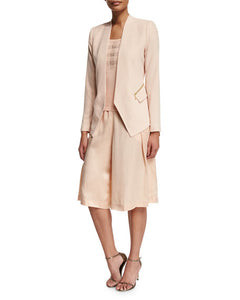 Magaschoni Silk Pleated Long Skort in Blush