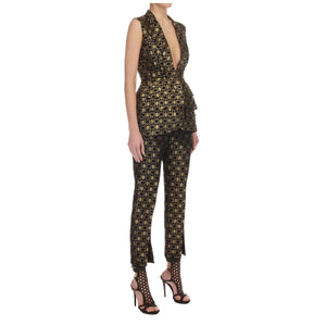 Alexander McQueen Metallic Black&Gold Honeycomb Trousers