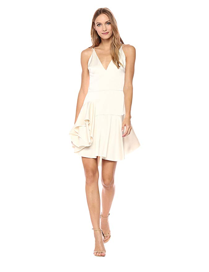 HALSTON HERITAGE Deep-V Satin Cocktail Dress W/ Ruffled Skirt in Cream