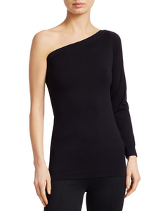 Helmut Lang One-Shoulder Long Sleeve Seamless Top